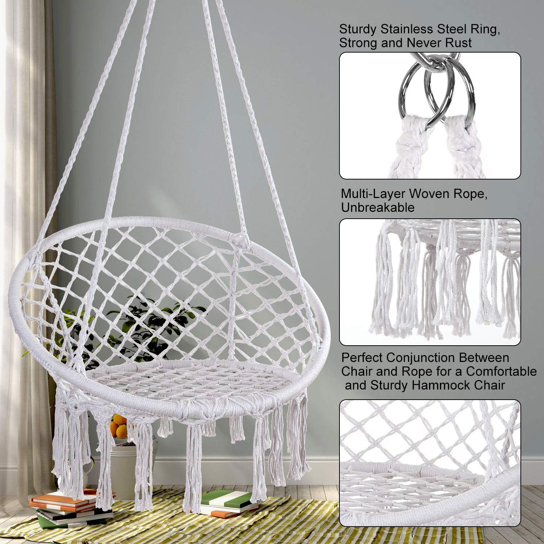 E Everking Hammock Chair Macrame Swing Hanging Cotton Rope