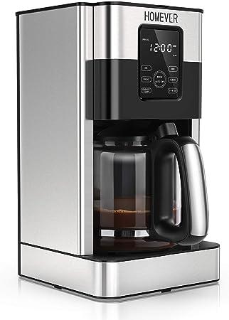 Homever Cafetera de Goteo Programable de Acero Inoxidable, 1.8 L(15 Tazas), con Pantalla LCD, Tiempo de Preparación Preestablecido, Función de Aroma y Limpieza Automatica, Mantener la Función Caliente: Amazon.es: Hogar