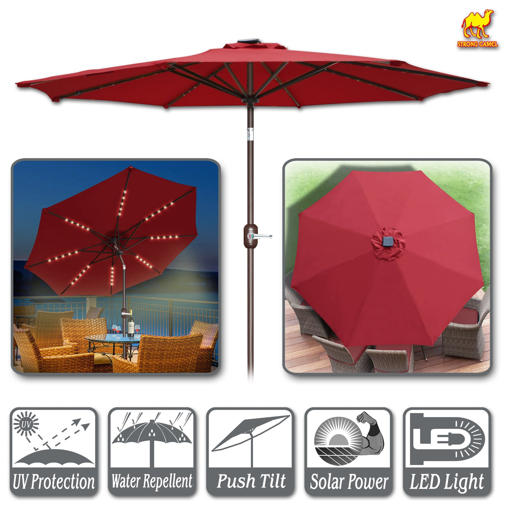 Strong Camel 9ft Solar Lighted Patio Umbrella 40 LED Light Market with Tilt and Crank Parasol Table Round Light Umbrella Sunshade (Burgundy)