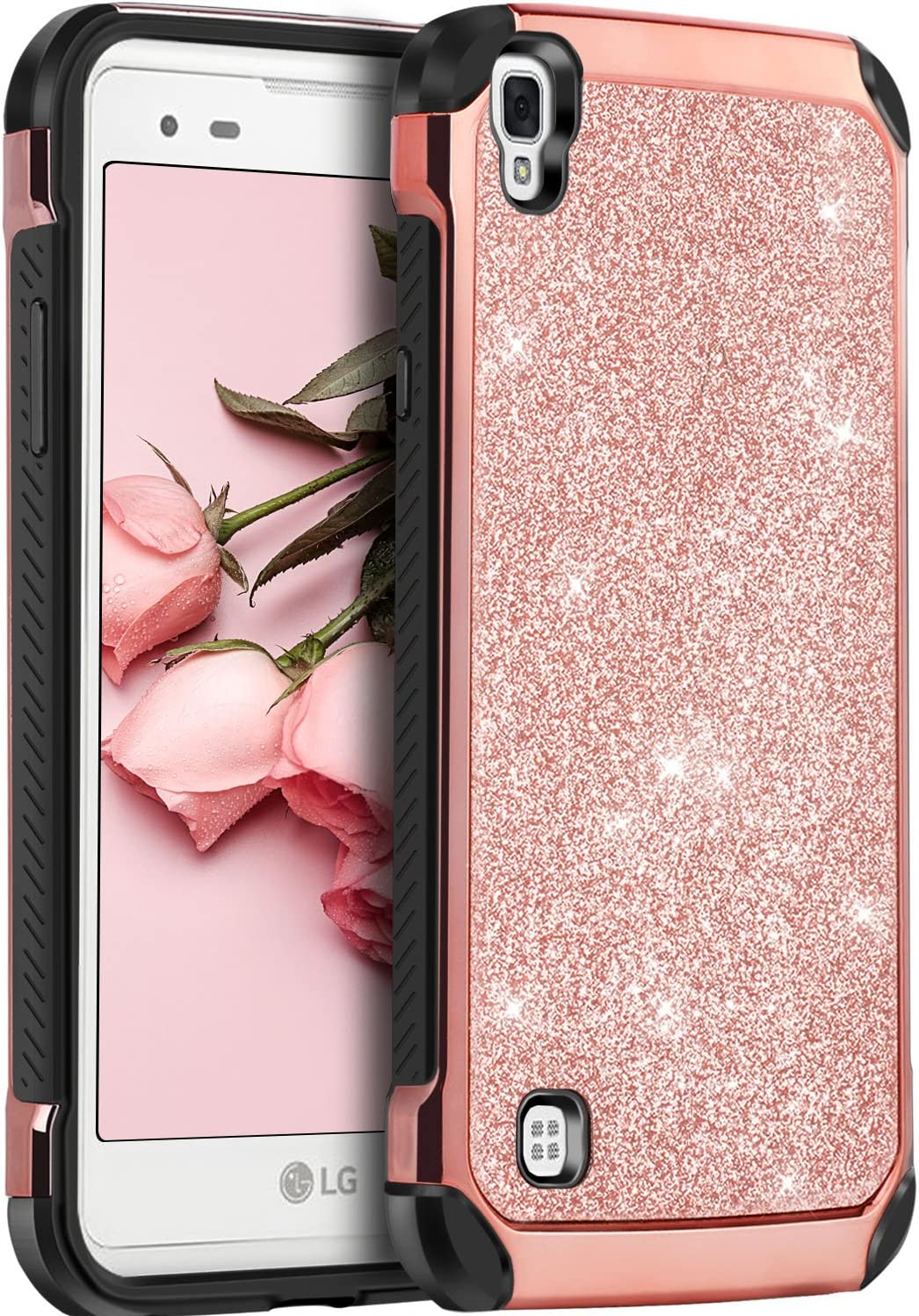 LG Tribute HD Case, LG X Style Case, LG Volt 3 Case,BENTOBEN Glitter Bling Slim Hybrid Soft Rubber Hard Cover Sparkly PU Leather Protective Phone Case for LG Tribute HD/X Style/Volt 3/LS676,Rose Gold