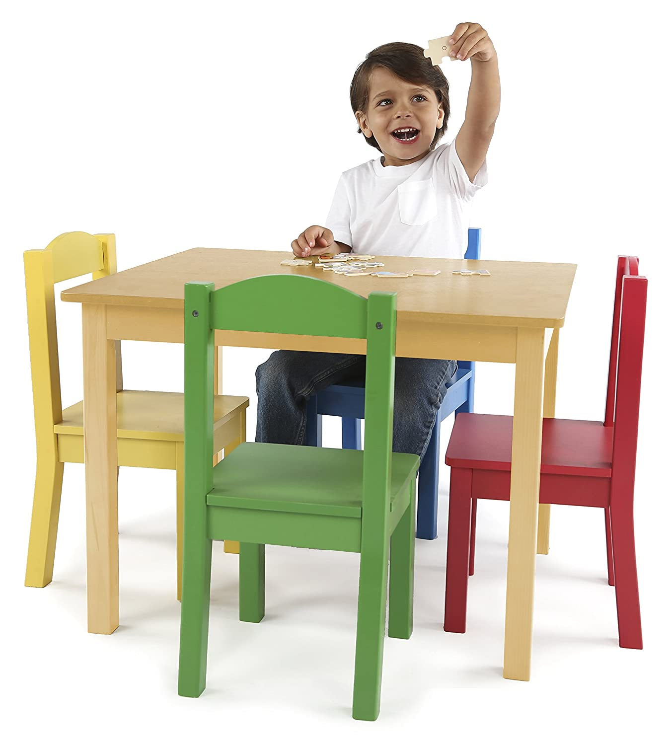 Tot Tutors Kids Table and 4 Chair Set Primary Wood Amazon