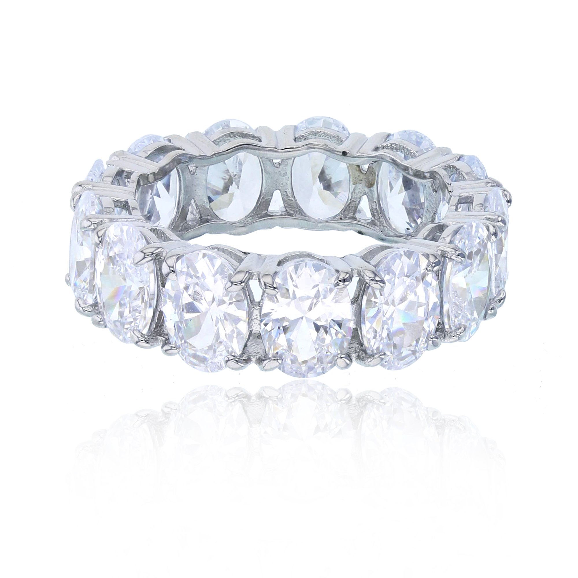 Decadence Women's Sterling Silver 6x8mm Oval Eternity Band, 5