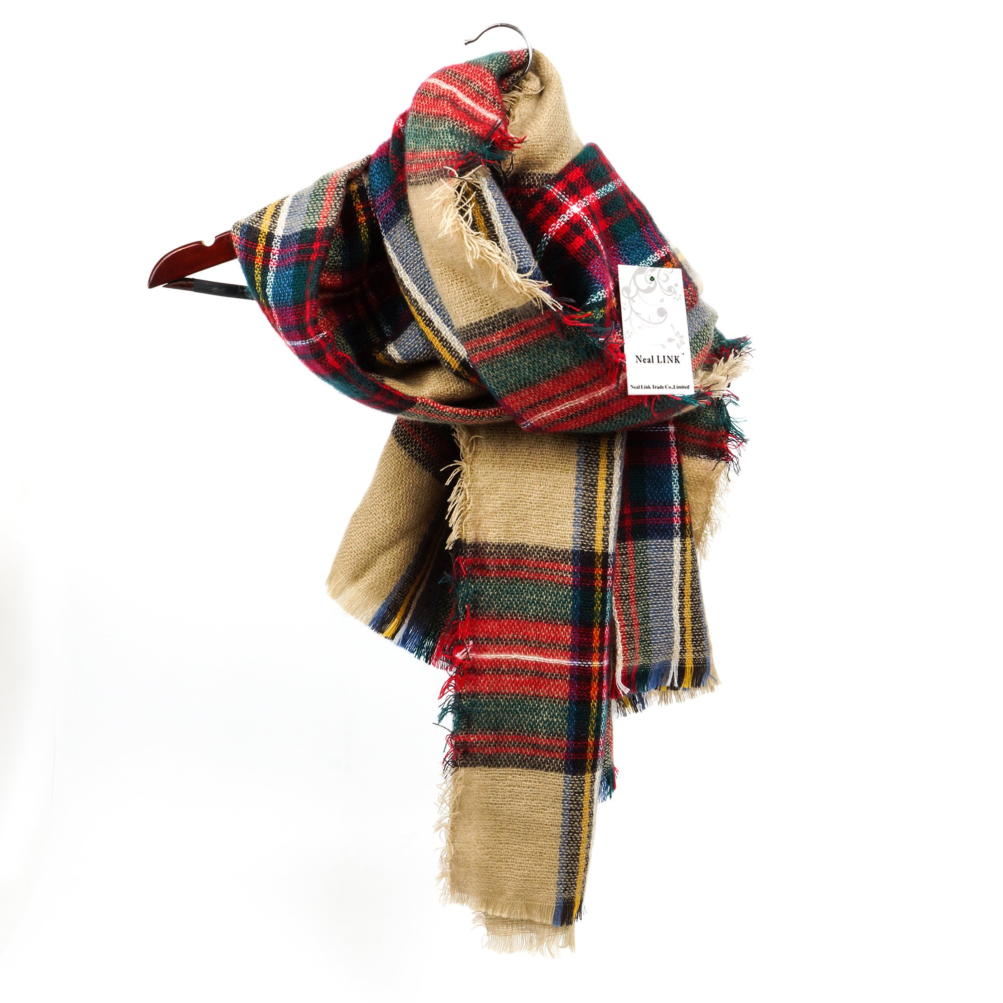 Women's Cozy Tartan Blanket Scarf Wrap Shawl Neck Stole Warm Plaid Checked Pashmina by Neal LINK (Image #1)