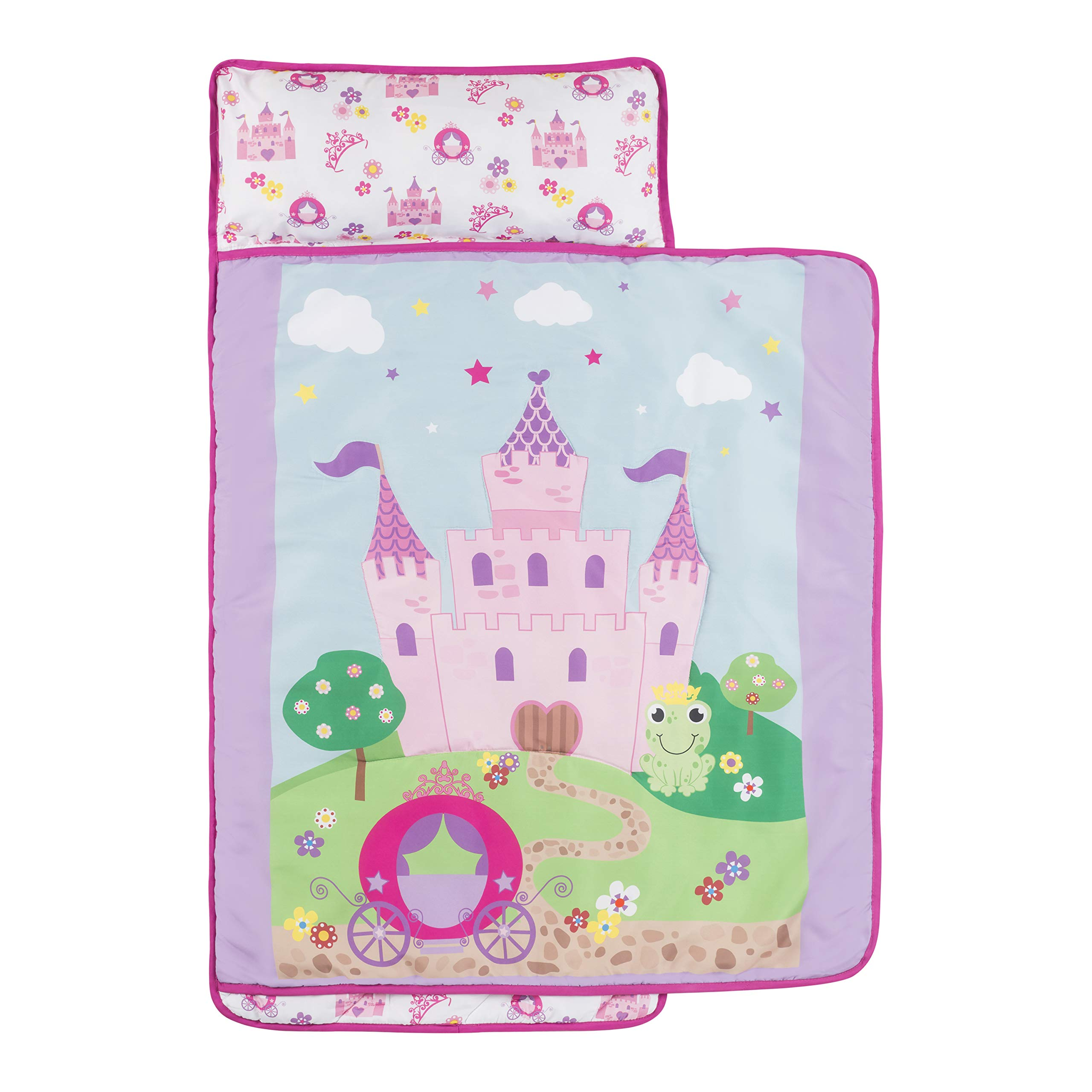 Everyday Kids Toddler Nap Mat with Removable Pillow -Princess Storyland- Carry Handle with Fastening Straps Closure, Rollup Design, Soft Microfiber for Preschool, Daycare, Sleeping Bag -Ages 2-4 years by EVERYDAY KIDS (Image #3)
