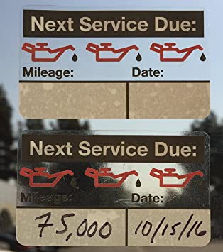 Oil Change Reminder Stickers - Ultra-Removable (100+ Count) FREE Sharpie  with