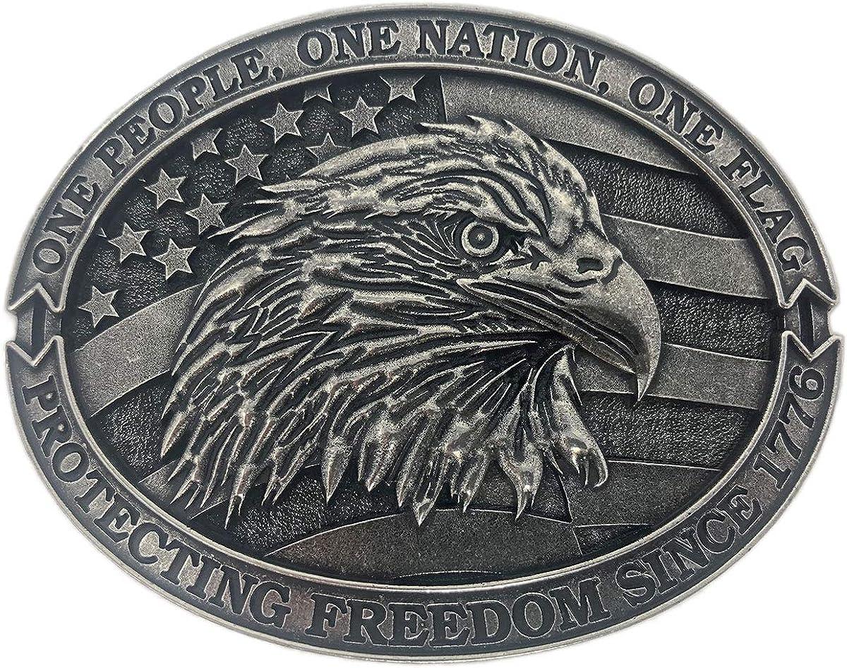 Exos Patriotic American Mens Western Eagle Belt Buckle