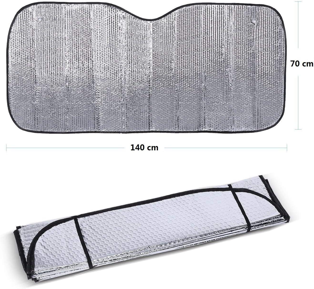 Azorex Pare-soleil de voiture avant pliable Taille S//M//L avec sangles /élastiques Facile /à installer M 70x140 cm