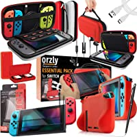 Switch Bundle, Orzly Accessories for Nintendo Switch (Glass Screen Protectors, USB Charging Cable, Switch Console Pouch…