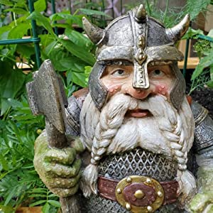 Garden Gnomes Statues Outdoor Decoration, Resin Viking Victor Dwarf Statue Ornaments Decor Crafts, Dwarf Figurines Ornament Sculpture for Indoor Outdoor Garden Lawn Yard Ideal Gift (Take The Hammer)