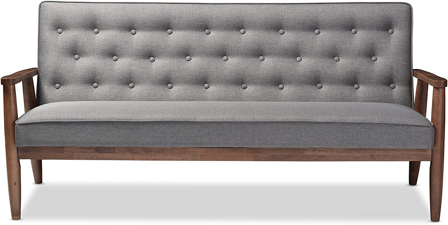 Baxton Studio Sorrento Mid-Century Retro Modern Fabric Upholstered Wooden 3-Seater Sofa, Grey & Sorrento Mid-Century Retro Modern Fabric Upholstered Wooden Lounge Chair, Grey