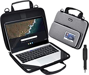 KEISKEI Chromebook 11-11.6 inch Laptop Work-in Carrying case, Protective Notebook Cover, EVA Always on Laptop Sleeve with Pouch and Shoulder Bag for Acer Lenovo ASUS HP Dell 2020 MacBook Air (Grey)