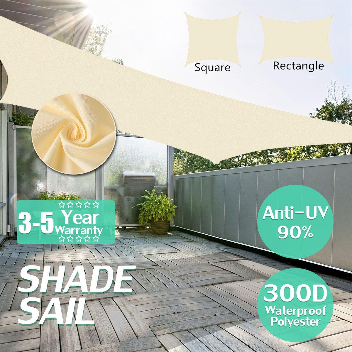King do way Vele Parasole, Vela da Giardino Tenda Parasole Esterno Protezione Solare Ombreggiante da Raggi UV in PE Impermeabile colore Bianco Latte Multi-Dimensione 3x6m