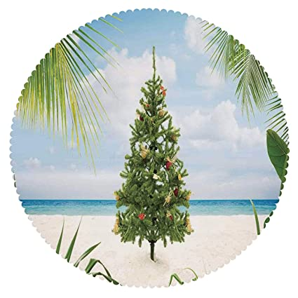iprint cool round tablecloth christmas decorationstree with tinsel and ornaments tropic island sandy