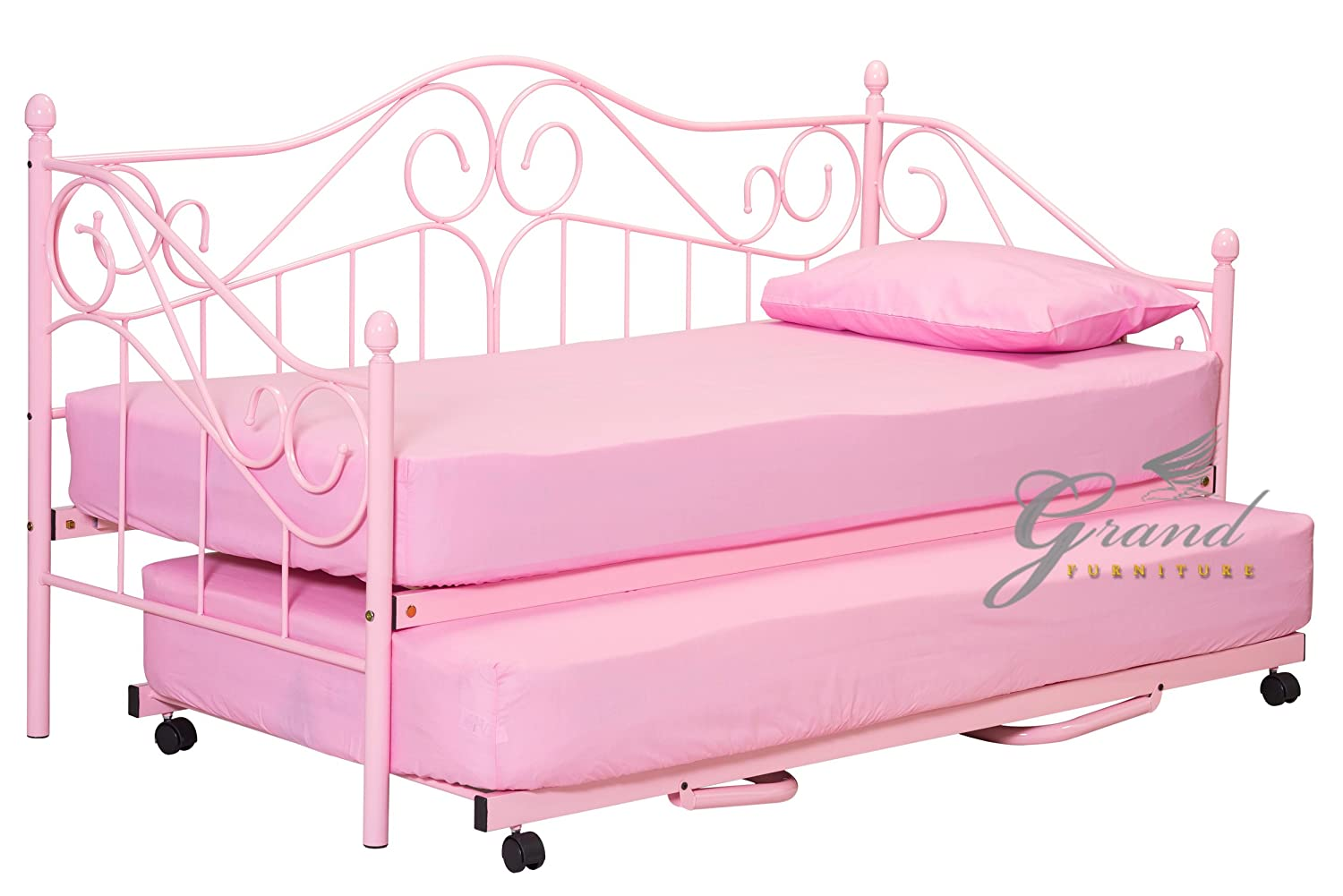 New Joseph Metal Day Bed with Trundle Pink For Girls Guest Bed Frame  Victorian Style 3FT Single: Amazon.co.uk: Kitchen & Home