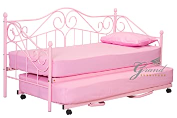 New Joseph Metal Day Bed With Trundle Pink For Girls Guest Bed Frame