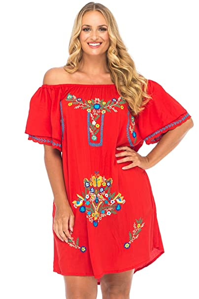 Back From Bali Womens Plus Size Mexican Embroidered Dress, Off The Shoulder  Mexican Peasant Dress for Women