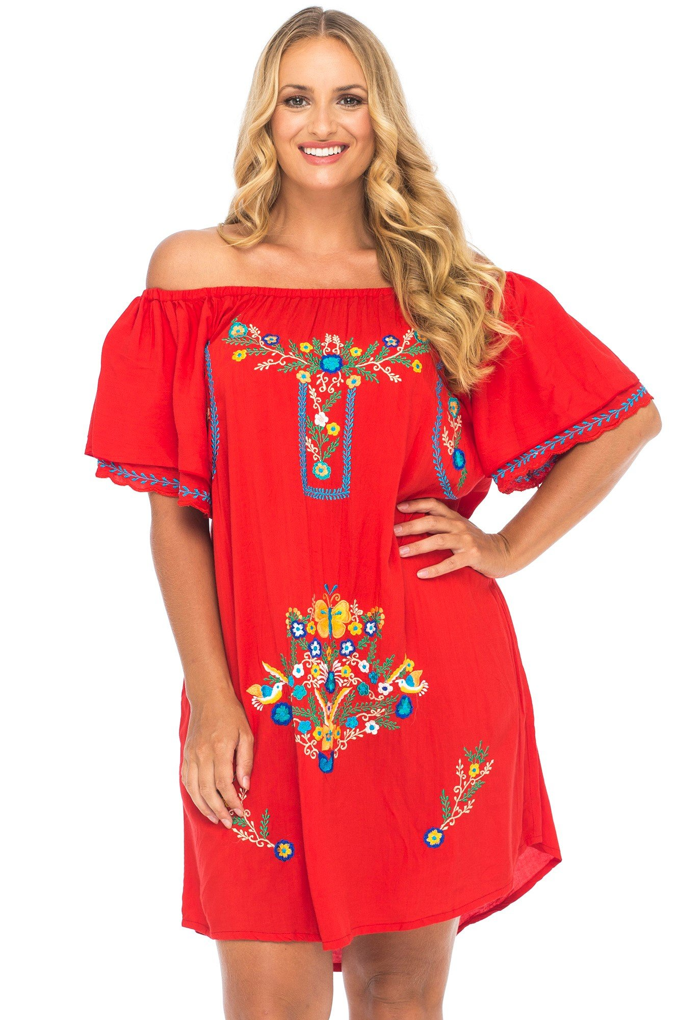Back From Bali Womens Plus Size Mexican Embroidered Dress, Off The ...
