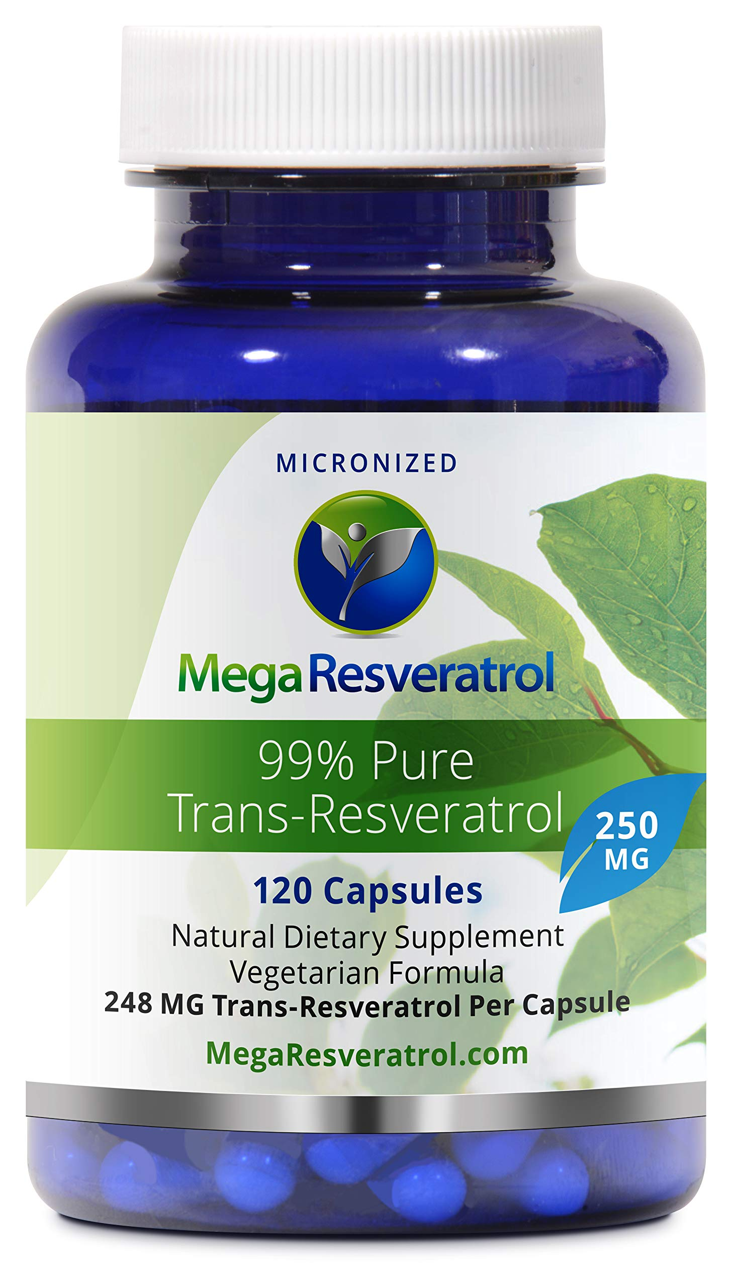 Mega Resveratrol, Pharmaceutical Grade, 99% Pure, Micronized Trans-Resveratrol, 120 Capsules, 250 mg per Capsule. Purity Certified. Absolutely no Toxic''Inactive Ingredients'' Added. by Mega Resveratrol