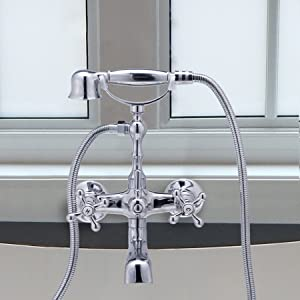 "CO-Z Bathroom Clawfoot Shower Bathtub Combo Faucet 4.7''-6.12"" Centers Two Handle Wall-Mounted Polished Chrome"