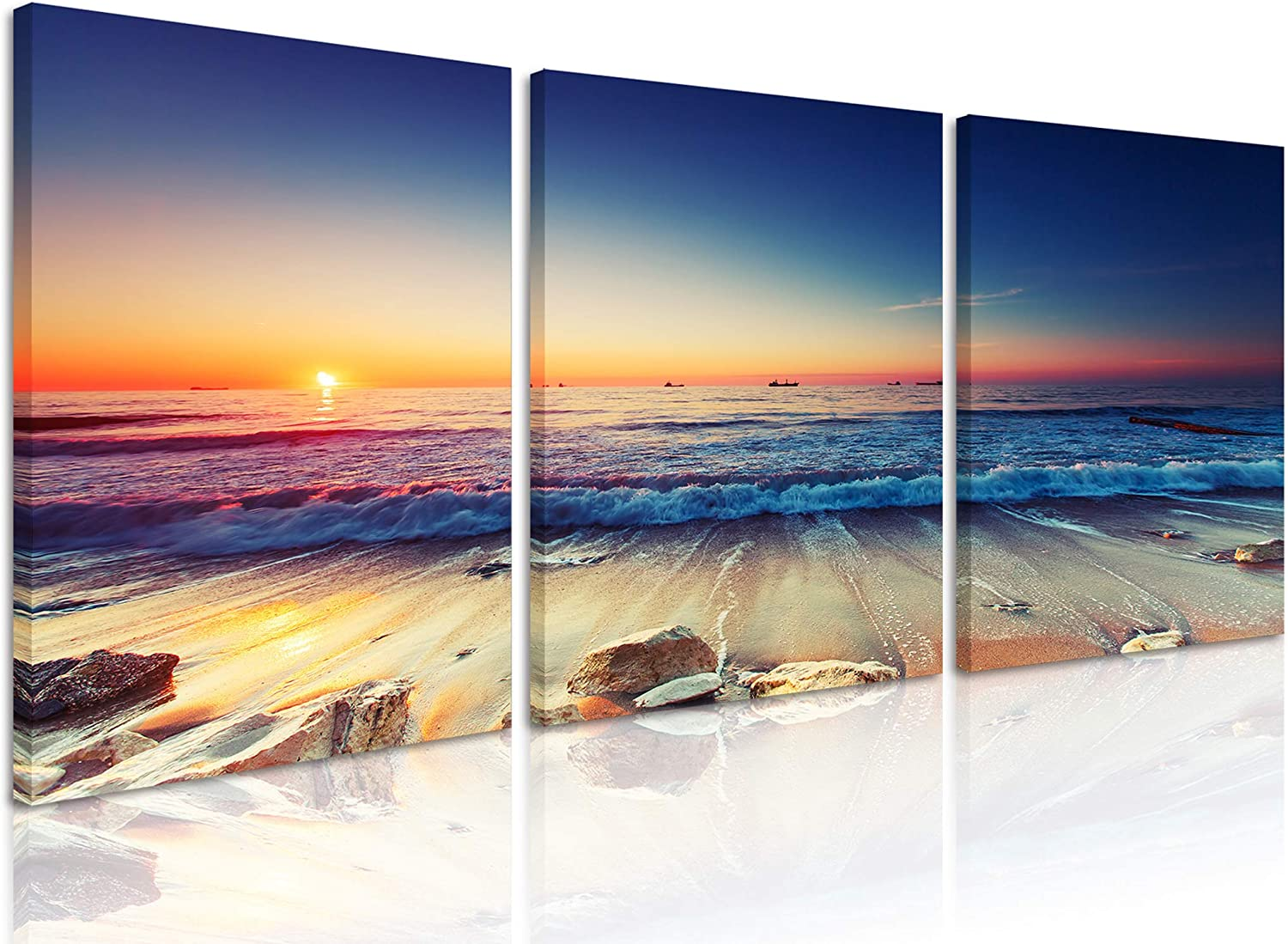Natural art Weathered Rocks on The Beach Pictures for Dinning Room Wall Decor Beautiful Sunrise Scenery of Ocean Canvas Painting Framed 12x16 Inch 3 Panels