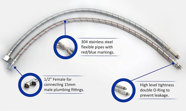X1 para cocina || 300 mm || C/ódigo de producto: FPM12-300S 2 conectores para grifo monomando M12 x 1//2 BSP extremo macho corto Xcel Home lavabo colas flexibles