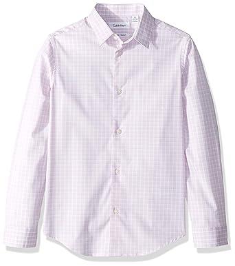3301073a2 Calvin Klein Big Boys' Long Sleeve Plaid Button-Down Dress Shirt, Pink Candy