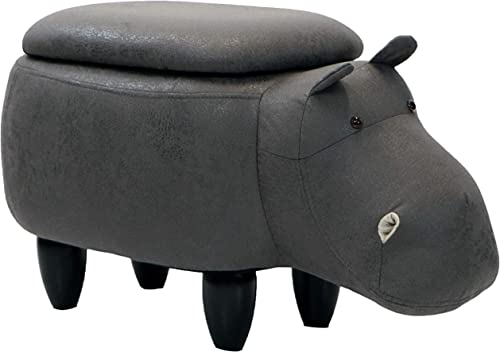 Critter Sitters 15″ Seat Height Dark Gray Hippo Storage Ottoman