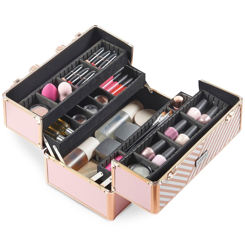 Beautify Mallette Maquillage//Onglerie//Esth/étique Professionnelle Verrouillable Rose Blush