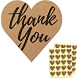 "1.5"" Heart Kraft Thank You Sticker Labels - 50 Sheets, Pack of 1000 Stickers"