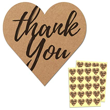 500 Thank You Stickers Seals Mini DIY Craft Heart-Shaped Lables Wedding Favours
