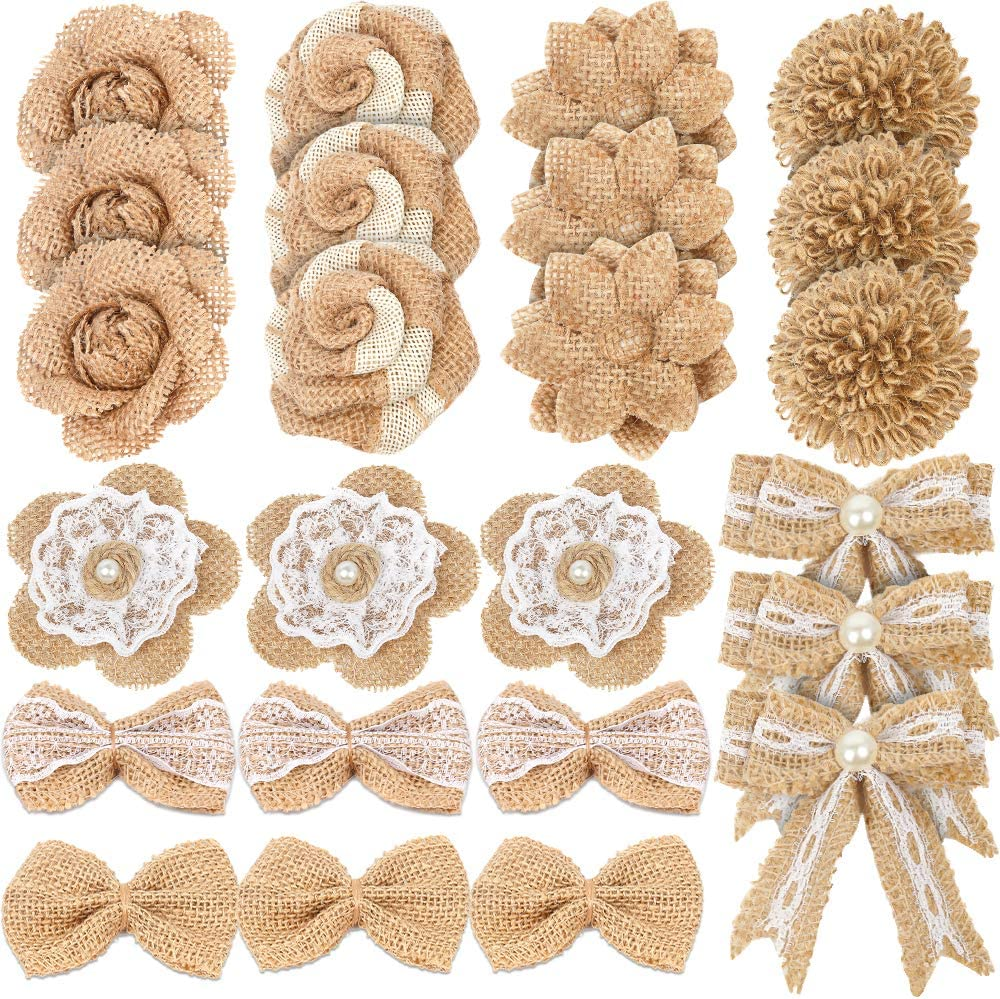 LEOBRO 24PCS Burlap Flowers, 8 Styles Natural Handmade Rustic Rose Flower Bowknot with Faux Pearls for DIY Craft Bouquets Home Wedding Christmas Party Decoration