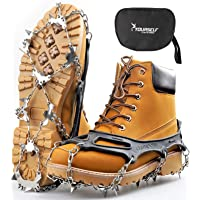SYOURSELF Crampons Ice Cleats 24 Steel Spikes Snow Grips Ice Grippers Traction Anti-Slip Stainless Cleats for Shoes…