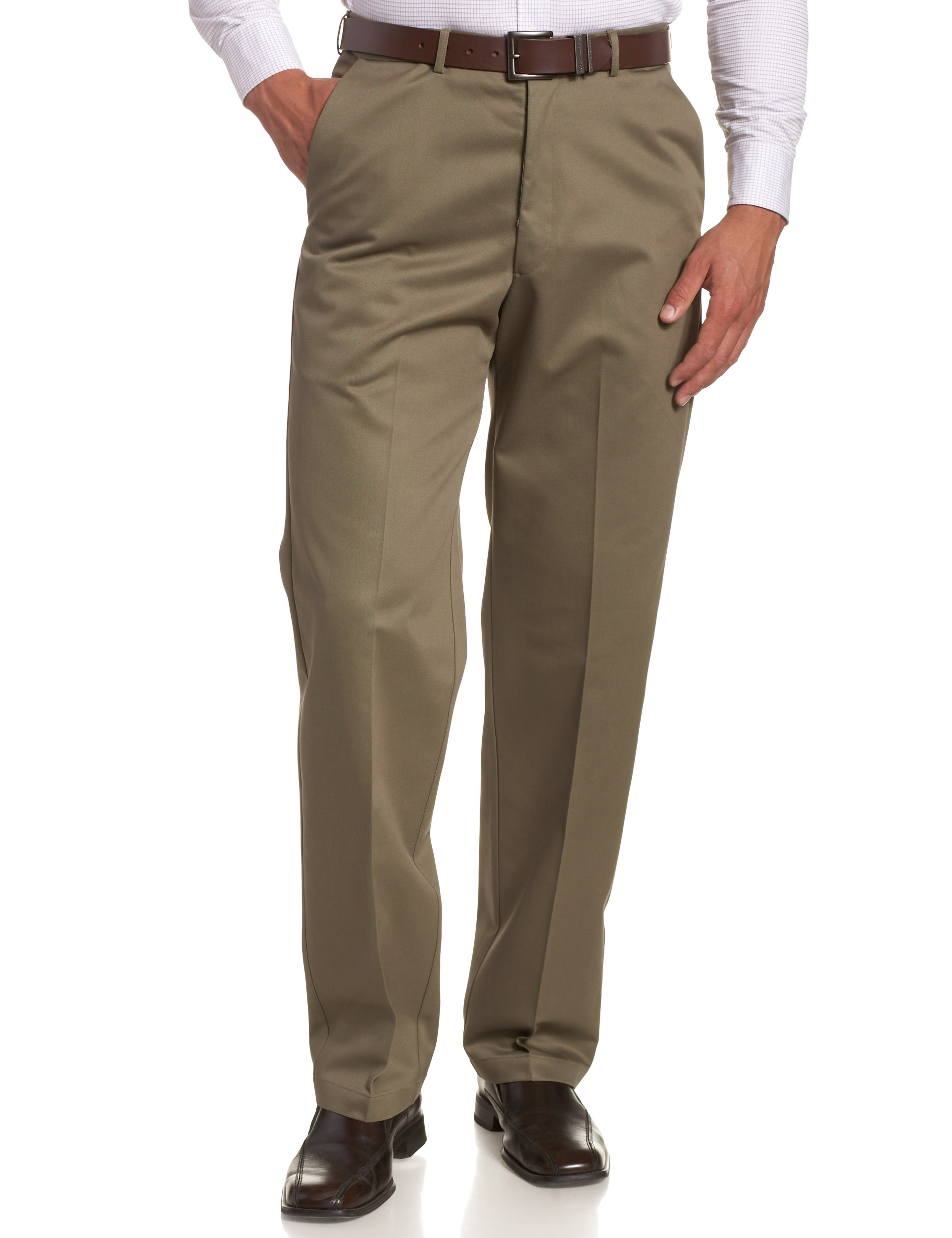 Haggar Men's Work To Weekend Hidden Expandable Waist No Iron Plain Front Pant,Bark,40x34