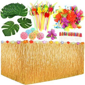 Auihiay 109 Pieces Tropical Party Decoration Set with 9 Feet Hawaiian Table  Skirt, Palm Leaves, Hawaiian Flowers, Multicolored Umbrellas and 3D Fruit  ...