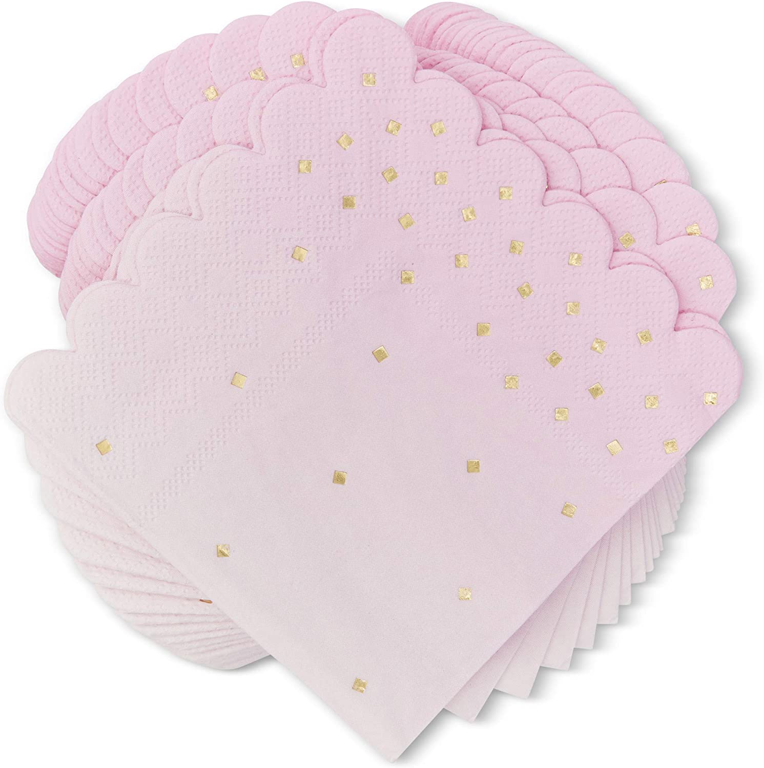 Ombre Cocktail Party Napkins, (5 x 5 in, Pink, 100-Pack)