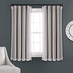 "Lush Decor Light Gray Rosalie Window Curtains Farmhouse, Rustic Style Panel Set for Living, Dining Room, Bedroom (Pair), 63"" x 54, 63"" x 54"""
