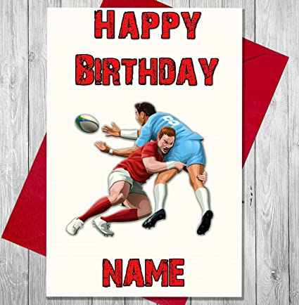 Carte D Anniversaire Personnalisee Avec Des Joueurs De Rugby N Importe Quel Nom Et Age Imprimes Sur Le Devant Amazon Fr Fournitures De Bureau