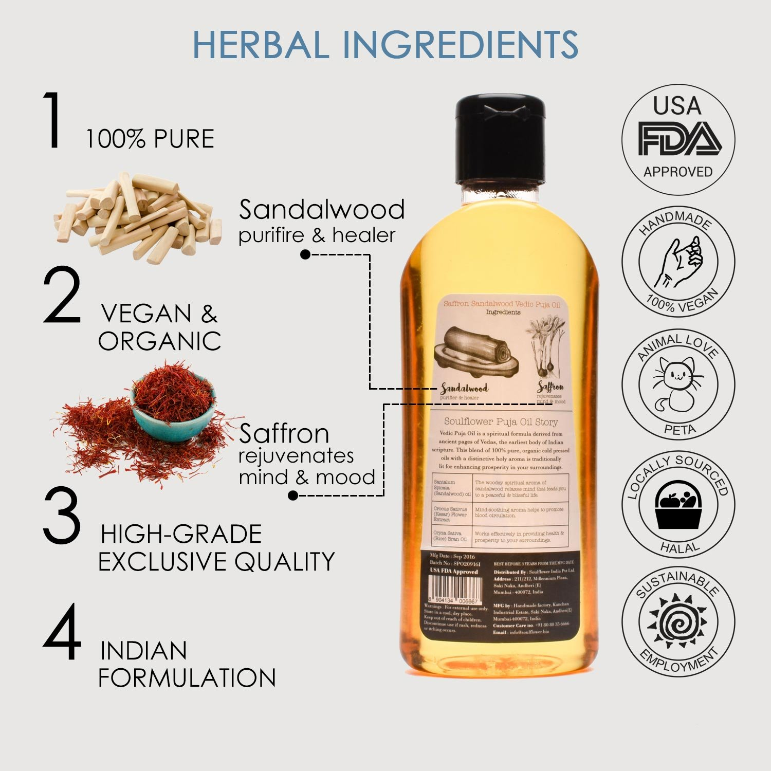 Saffron Sandalwood Vedic Puja Oil by Soulflower, 100% Pure and Natural  Undiluted Ayurvedic Formulation,USFDA approved, Pure Sacred & Mystique for