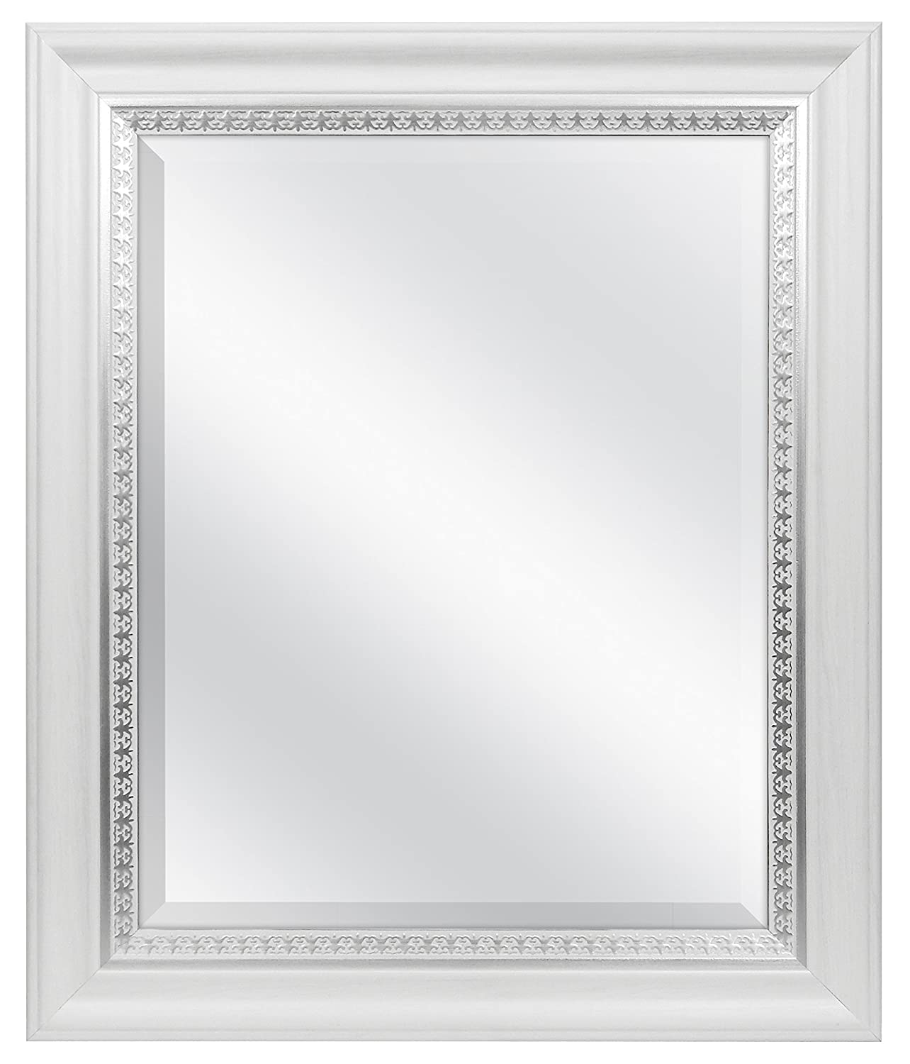 MCS 16x20 Wall Mirror with Embossed Accent, 21x25 Overall Size, White (83047) MCS Industries