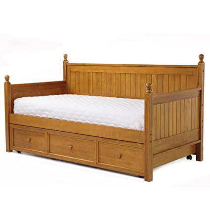 Casey II Wood Daybed With Ball Finials And Roll Out Trundle Drawer, Honey  Maple Finish