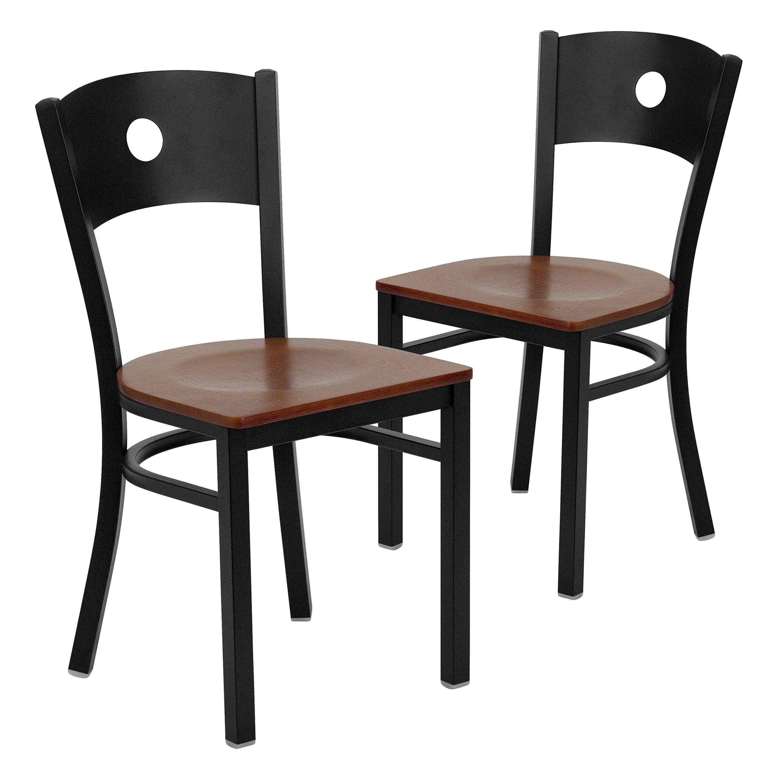 Flash Furniture 2 Pk. HERCULES Series Black Circle Back Metal Restaurant Chair - Cherry Wood Seat by Flash Furniture (Image #1)