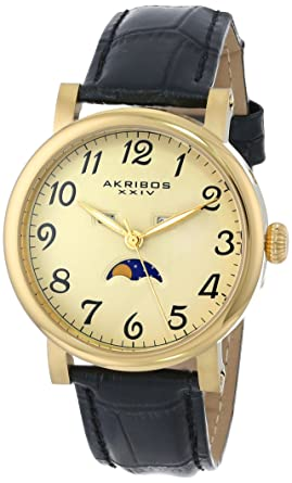cecb508ee00 Akribos XXIV Men s AK633 Retro Multifunction Stainless Steel Leather Strap  Watch (Yellow Gold)