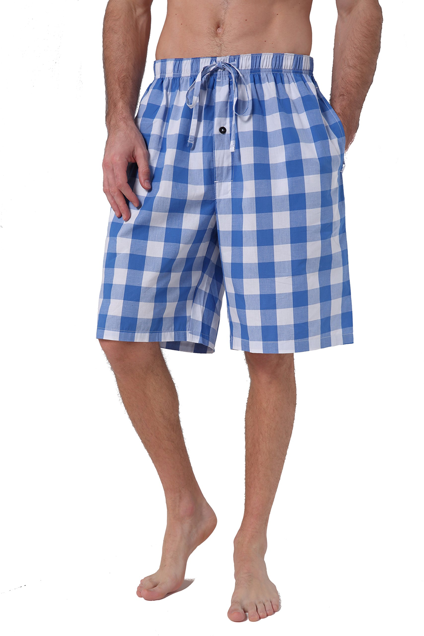 CYZ Men's 100% Cotton Plaid Poplin Woven Lounge/Sleep Shorts-F1708-L