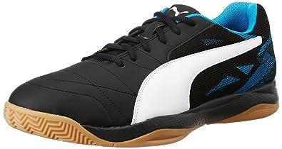 Puma Men's Veloz Indoor III Puma Black, Puma White and Blue Danube  Badminton Shoes -