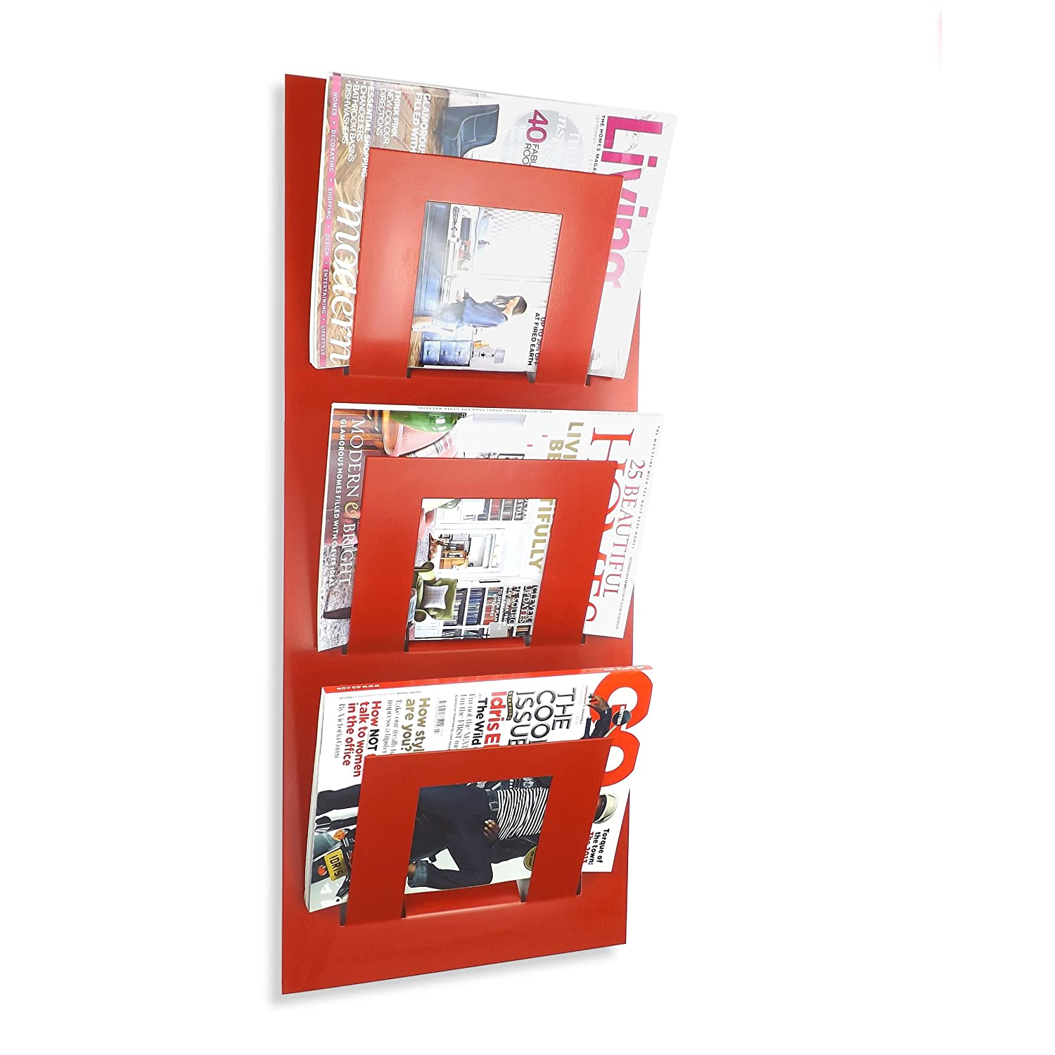 The Metal House Triple Tier Red Wall Mounted Magazine Rack by themetalhouse.co.uk
