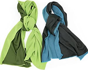 Cooling Towel, Snap Cooling Towel for Sports, Workout, Fitness, Gym, Yoga, Pilates, Travel, Camping & More (Green & Blue)