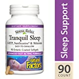 Natural Factors - Stress-Relax Tranquil Sleep, Easy to Swallow Enteric Coated Softgels, 90 Enteric Coated Soft Gels