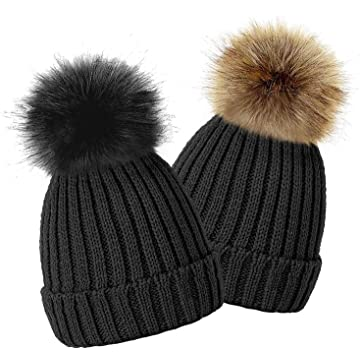a543321e771 TOSKATOK Kids Girls Winter Beanie Bobble Hat with Detachable Changeable Faux  Fur Pom Pom
