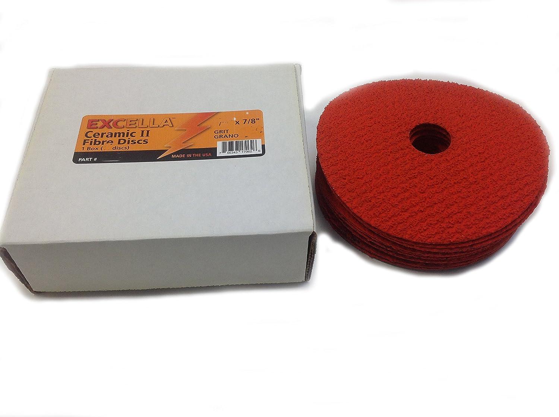 5 x 7//8 Center Hole 5 x 7//8 Center Hole 25 Pack Sungold Abrasives 17562 36 Grit Excella Orange Ceramic Fibre Disc
