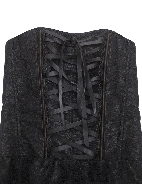 Burvogue Womens Gothic Lace Steampunk Corset Dress Retro Vintage Costume